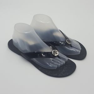 Tory Burch Thora black patent leather sandals 10 M